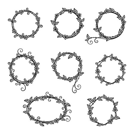 Illustration pour Set of decorative wreaths of twigs and flowers isolated on a white background. Vector floral frame for holiday greeting card, wedding invitation, banner, monogram, signage, labels and wedding frame. Design template - image libre de droit
