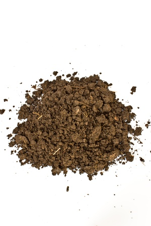 Foto per pile of soil on white background - Immagine Royalty Free