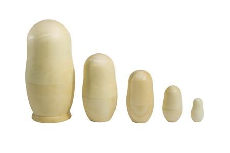 Photo pour Set of unpainted nested dolls (isolated on white) - image libre de droit