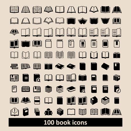 Illustration pour Book icons Library icons Education icons Reading icons Learning icons Book pictogram Knowledge icons - image libre de droit
