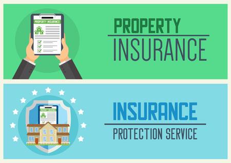 Illustration pour House insurance service vector illustration for web design. - image libre de droit