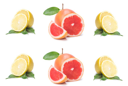 Photo for Isolated citrus slices, fresh fruit cut in half orange, pink grapefruit, lemon, in a row, on a white background - Royalty Free Image