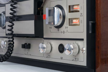 Photo for close-up of the buttons and volume controls of an old tape recorder - Royalty Free Image