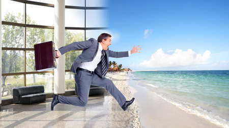 Businessman running on the beach  Summer vacation