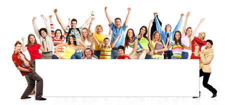 Happy funny people. Isolated over white background\rの写真素材