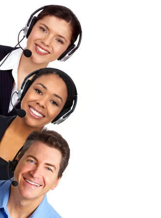 Smiling  business people  with headsets. Over white background