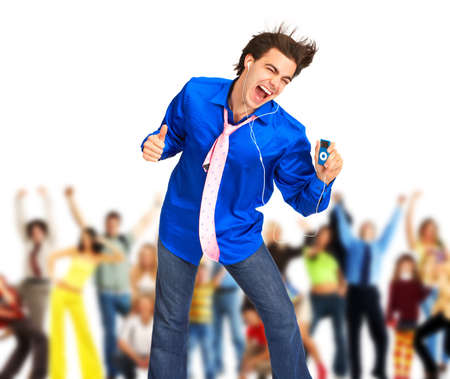 Happy young man with mp3-player. Over white background