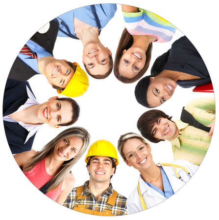 Businessman, business woman, builder, nurse, architect, student. Over white background