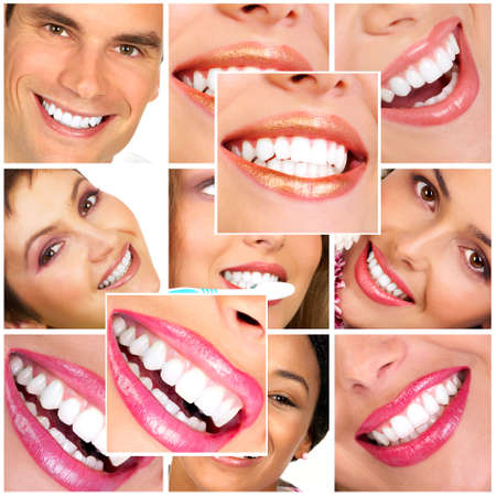 Photo pour Beautiful smiles and  teeth. Over  white background  - image libre de droit