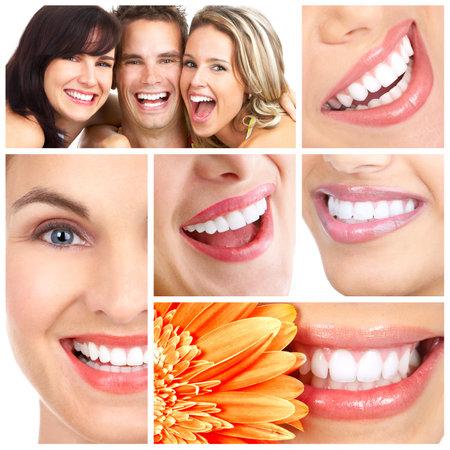 Photo pour Man and woman smiles. Over  white background  - image libre de droit
