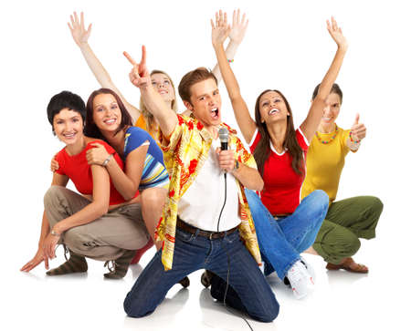 Happy young people signing karaoke. Isolated over white background