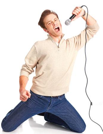 Happy karaoke signer. Isolated over white background