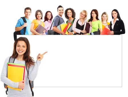 Foto de Large group of smiling  students. Isolated over white background  - Imagen libre de derechos