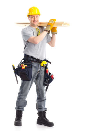 Photo for Handsome builder with wood planks. Isolated over white background  - Royalty Free Image