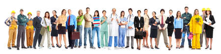 Photo for Large group of smiling workers people. Over white background  - Royalty Free Image
