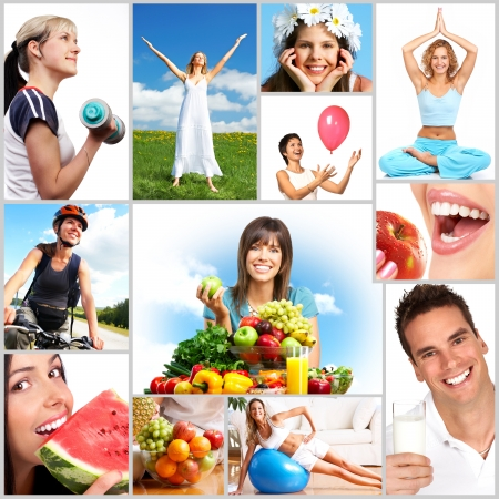 Foto für Young smiling women  with fruits and vegetables - Lizenzfreies Bild