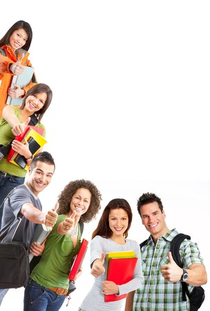 Photo pour group of smiling  students. Isolated over white background - image libre de droit