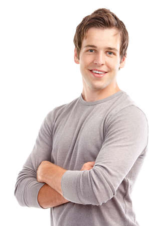 Photo pour Handsome young man smiling. Isolated over white background  - image libre de droit