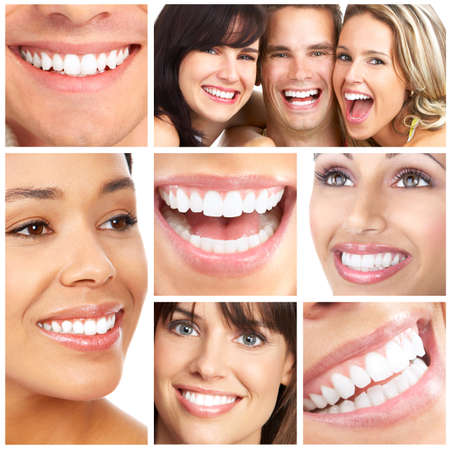 Photo pour Faces of smiling people. Teeth care. Smile  - image libre de droit