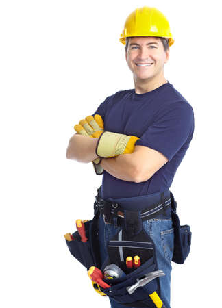 Photo for Handsome smiling contractor. Isolated over white background  - Royalty Free Image