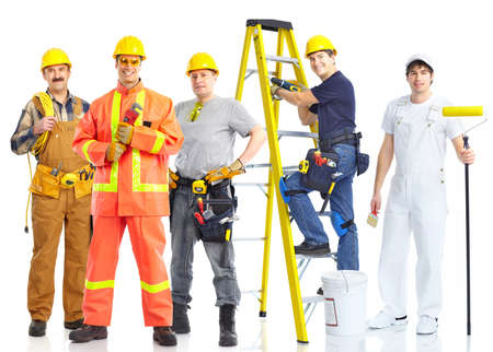 Photo for contractors workers people. Isolated over white background  - Royalty Free Image