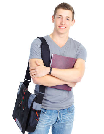 Photo pour Young smiling  student with books. Over white background  - image libre de droit