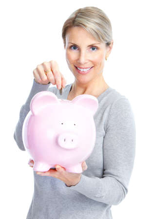 Woman with a piggy bank. Isolated over white background