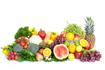 Photo for Vegetables and fruits. Apple, orange,  plum, lemon, watermelon, pear   - Royalty Free Image