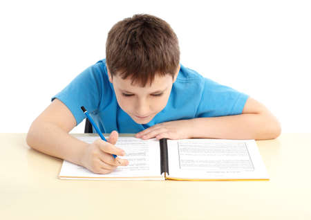schoolboy. Isolated over white background
