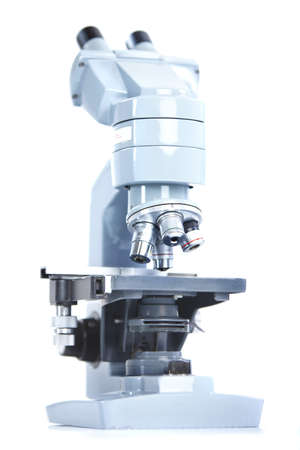 Laboratory microscope. Over white background