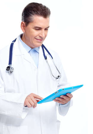 Doctor with tablet computer.