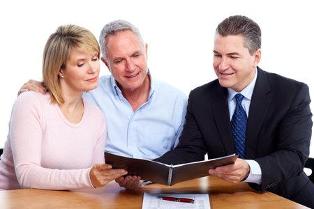 Senior couple with financial adviser.