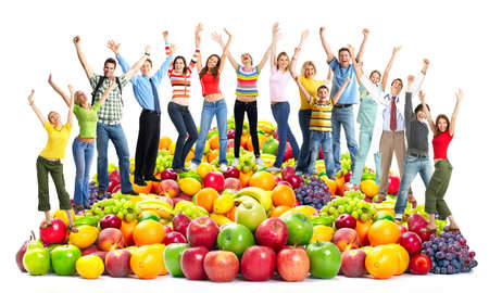Photo for Group of happy people with fruits. - Royalty Free Image