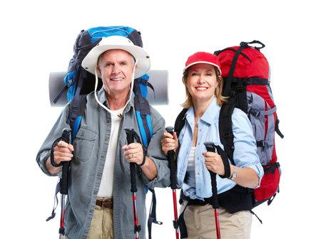Tourist. Senior couple hiking.