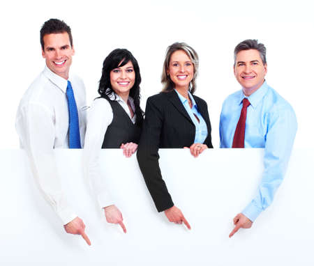 Photo for Group of business people with banner  - Royalty Free Image
