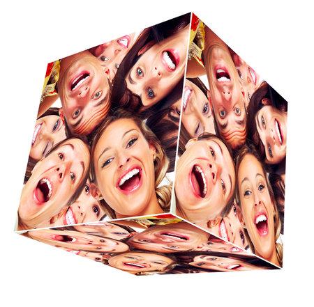 Foto de People smile cube collage  - Imagen libre de derechos