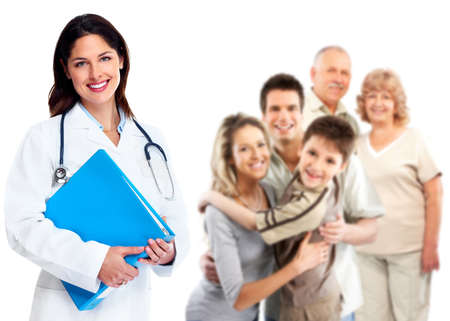 Smiling medical family doctor woman  Health care background