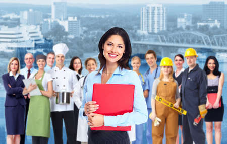 Business woman with red folder and a group of business person