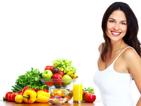 Young healthy woman with fruits