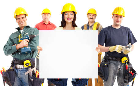 Contractor woman and group of industrial workers