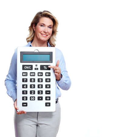 Accountant business woman with a calculator