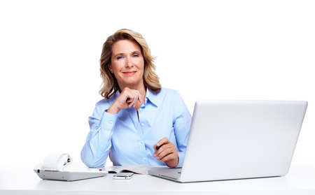 Business woman with a laptop computer