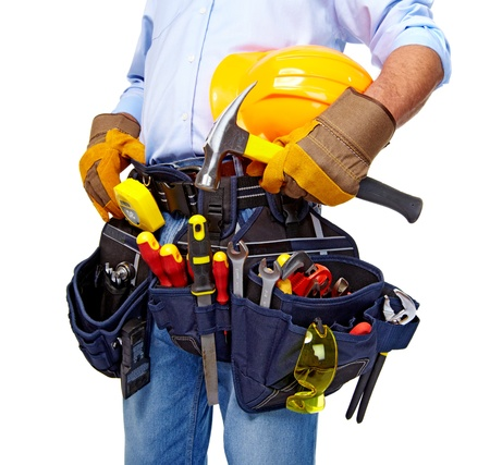 Photo for Worker with a tool belt  Construction  - Royalty Free Image