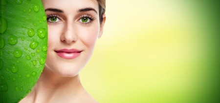 Photo pour Beautiful young girl portrait close up  Skin care  - image libre de droit