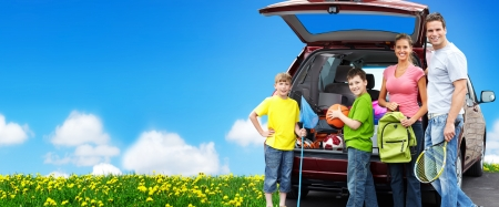 Photo for Happy family near new car. Camping concept background. - Royalty Free Image