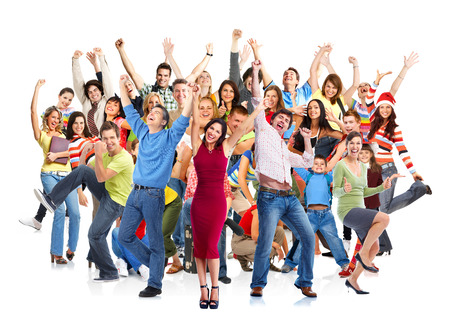 Foto de Group of happy people jumping isolated on white background. - Imagen libre de derechos