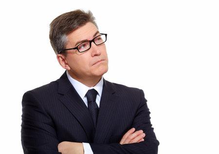 Photo pour Portrait of handsome Businessman isolated on white background. - image libre de droit