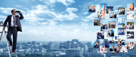 Foto de Business people banner collage background design  Success - Imagen libre de derechos