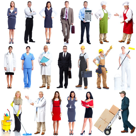 Photo pour Workers people set isolated over white background  - image libre de droit