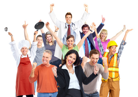 Photo pour Group of happy workers people isolated on white background. - image libre de droit